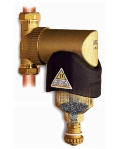 The SpiroTrap MB3 fits easily and neatly on vertical, horizontal or even diagonal pipework.